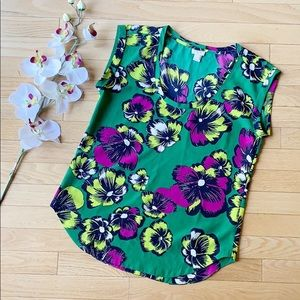 J.CREW cap sleeve blouse size 2 green yellow